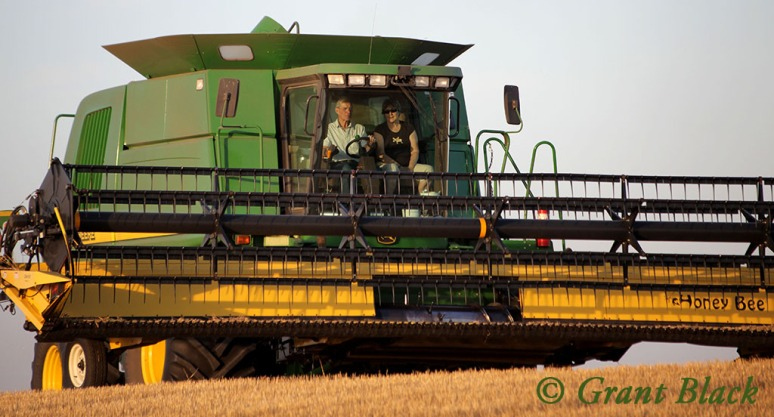 Larry and Lee Ann in the combine