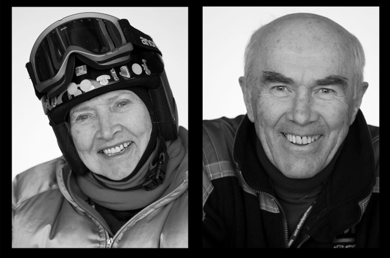 Bunny, left, has been skiing for 36 years; Peter has been teaching skiing for 51 years.