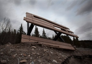 A DAMAGED PICNIC TABLE AT ELBOW FALLS.