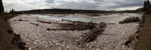 A PANORAMIC VIEW OF THE ELBOW RIVER AT ALLEN BILL POND.