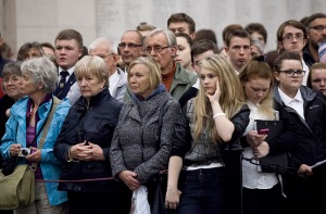 VISITORS AT THE MENIN GATE CEREMONY, YPRES, BELGIUM